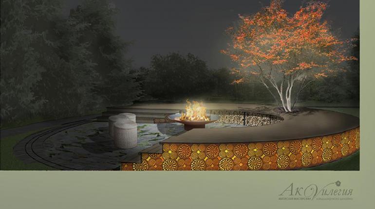 Кострище с подиумом из террасной доски