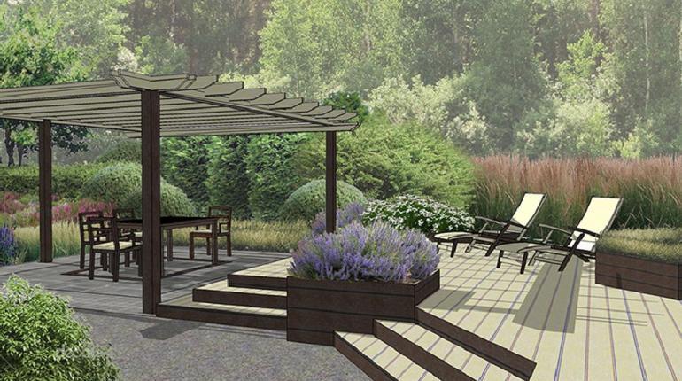 Ландшафтный проект частного участка с террасой и купелью